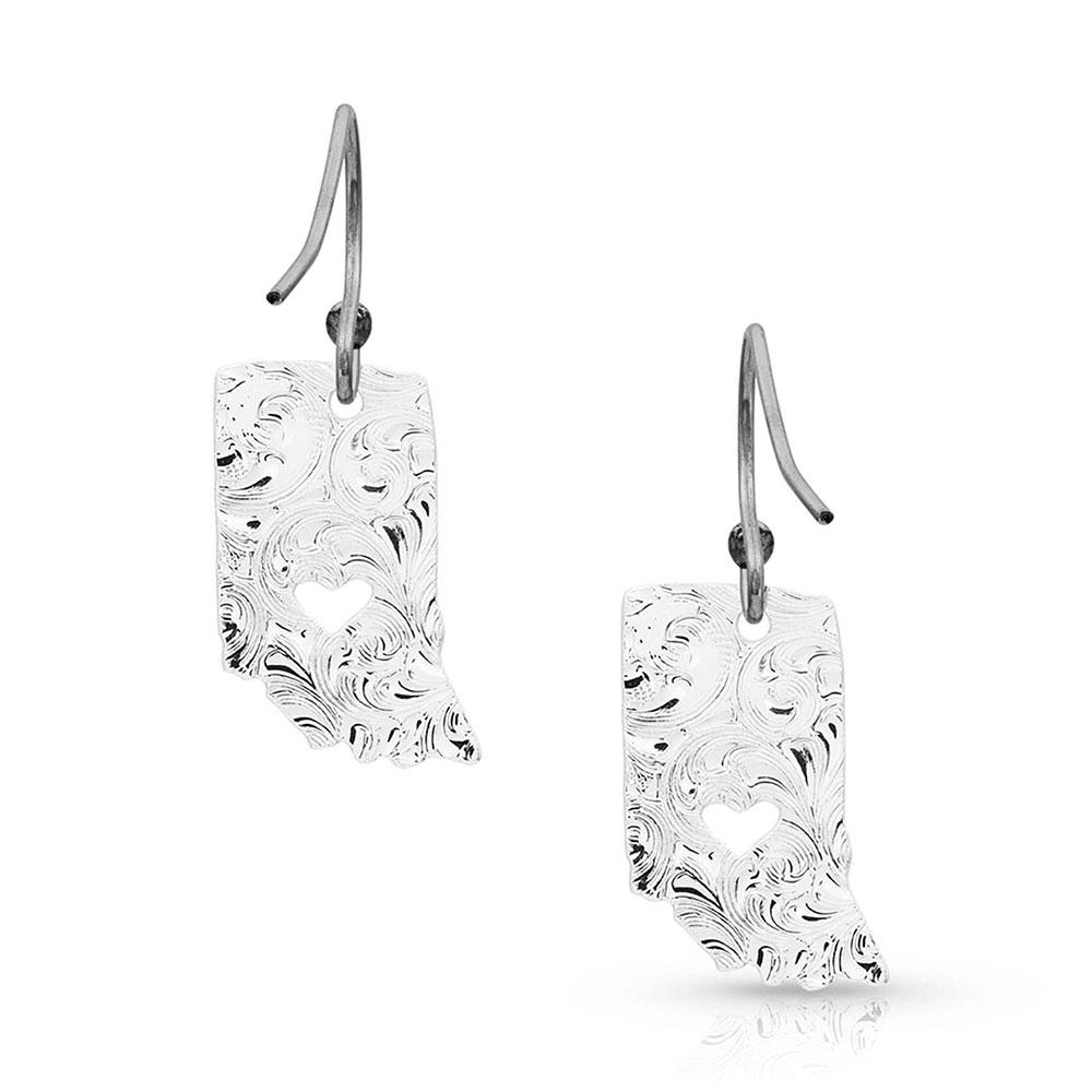 I Heart Indiana State Charm Earrings