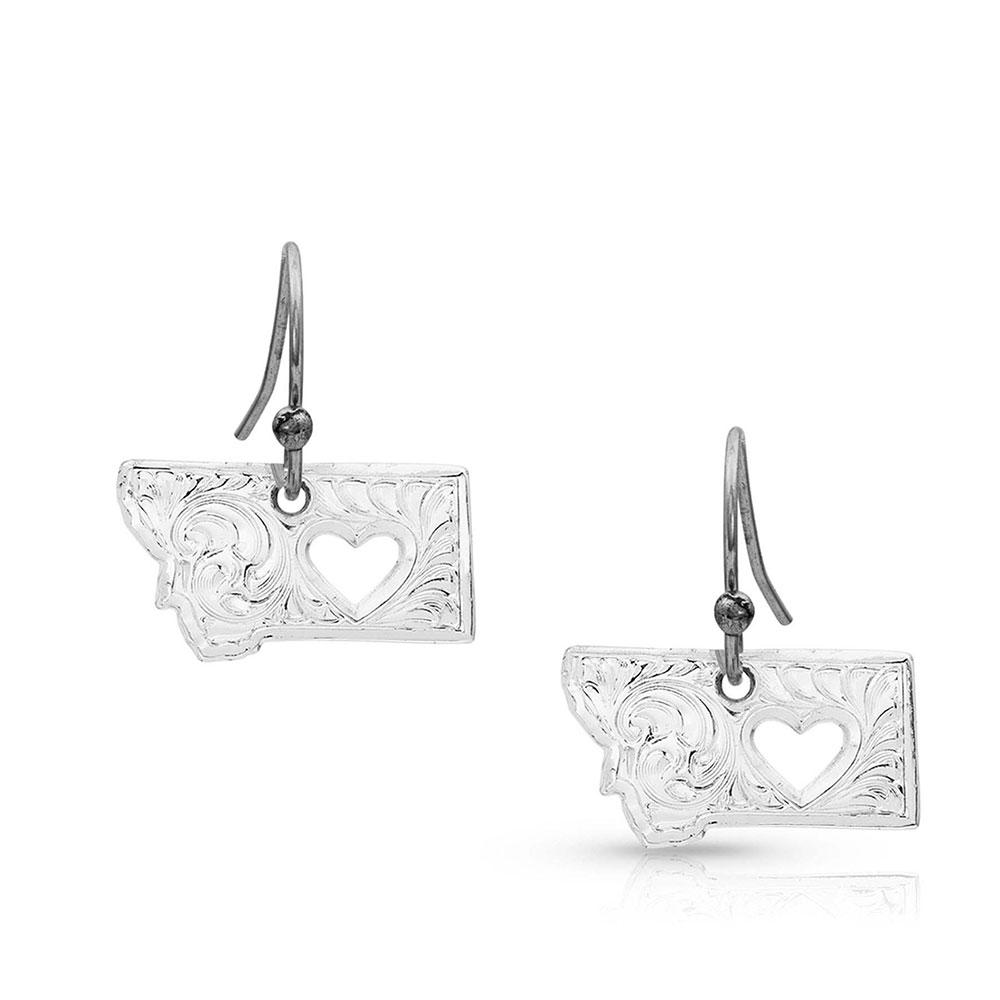 I Heart Montana State Charm Earrings