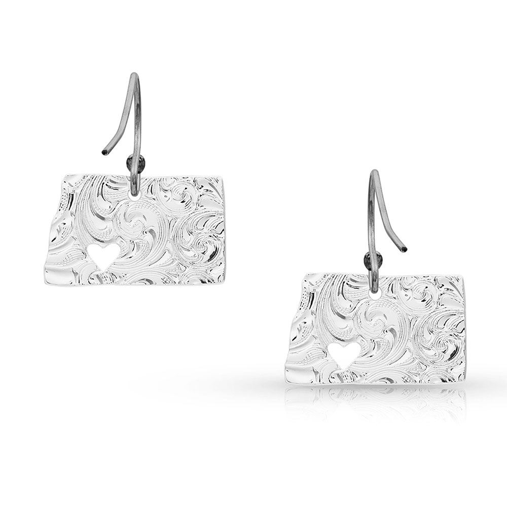 I Heart North Dakota State Charm Earrings