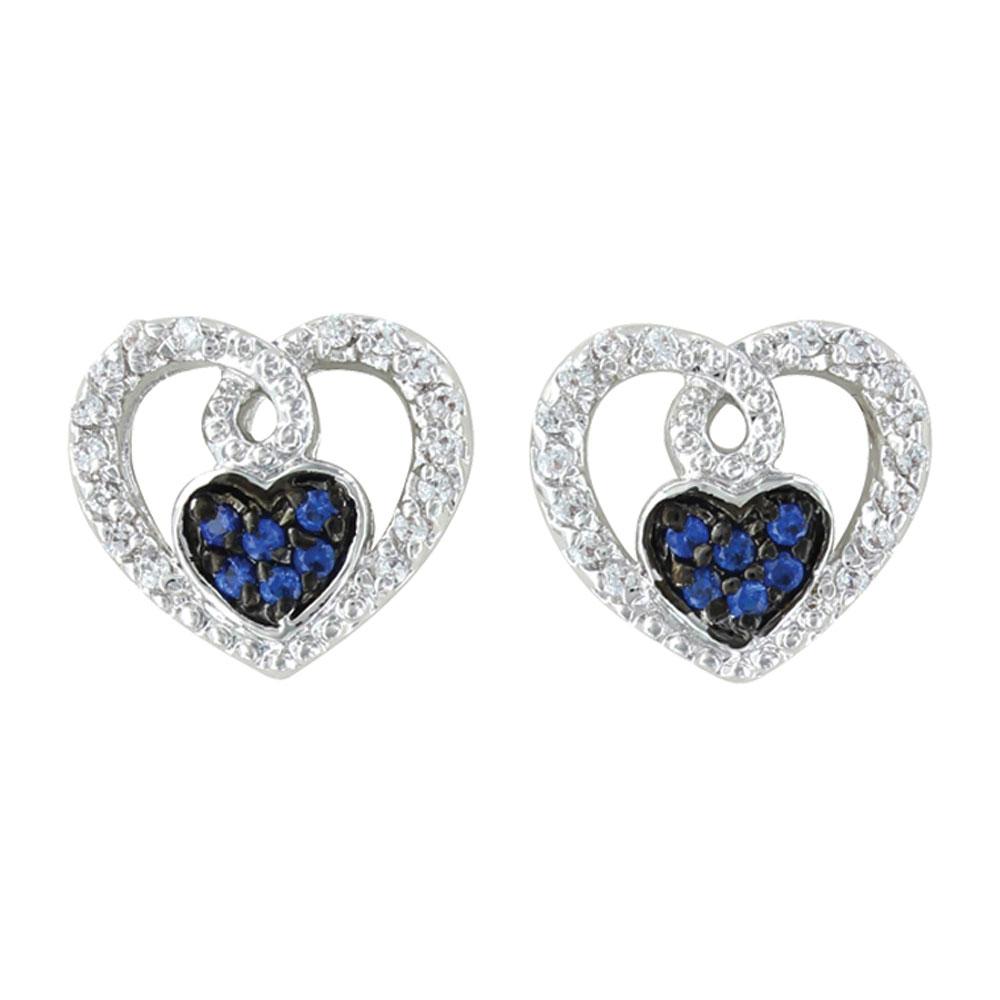 Curlicued Cerulean Heart Earrings