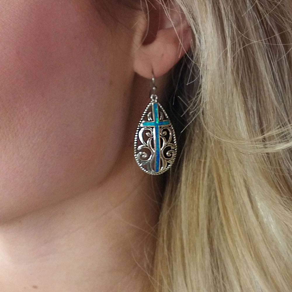 Filigree Water Lights Cross Earrings
