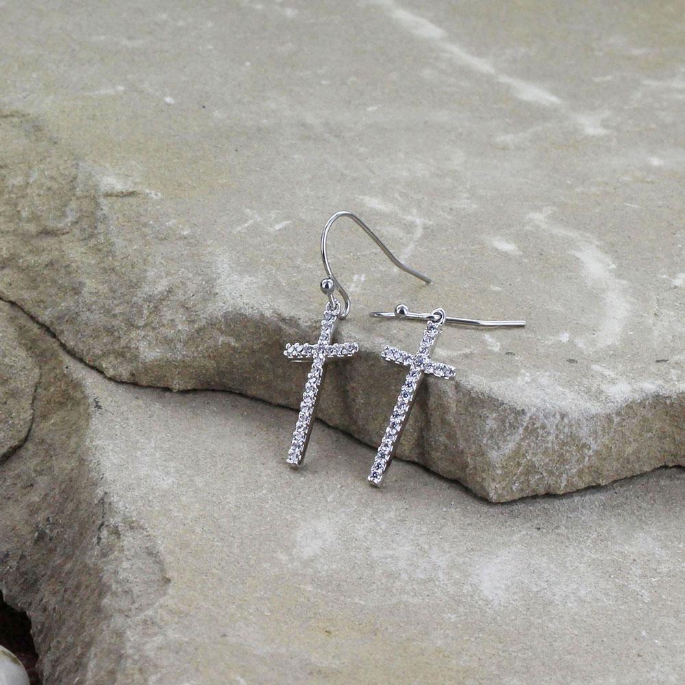 Elongated Cross Earrings