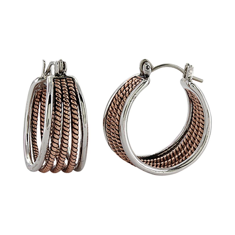 Two Tone Rope Hoop Earrings