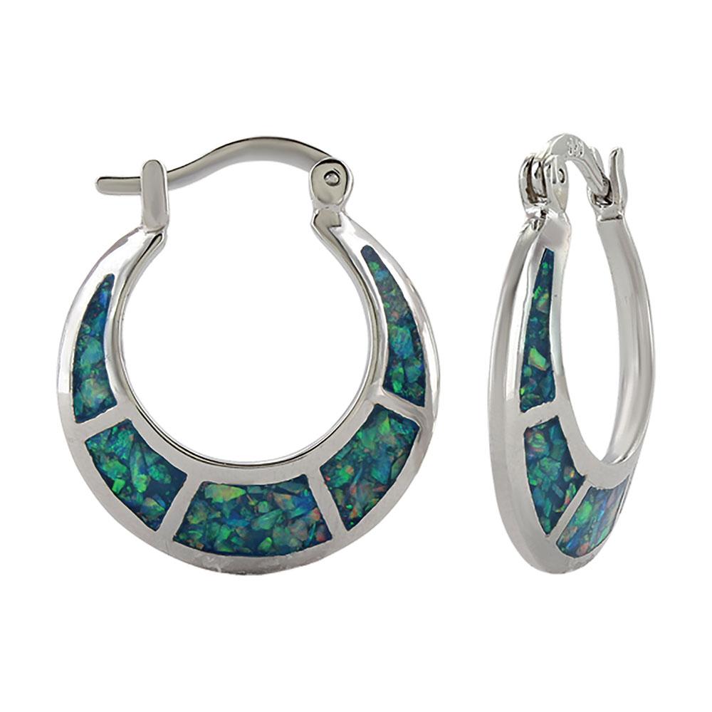 Crescent Opal Hoop Earrings