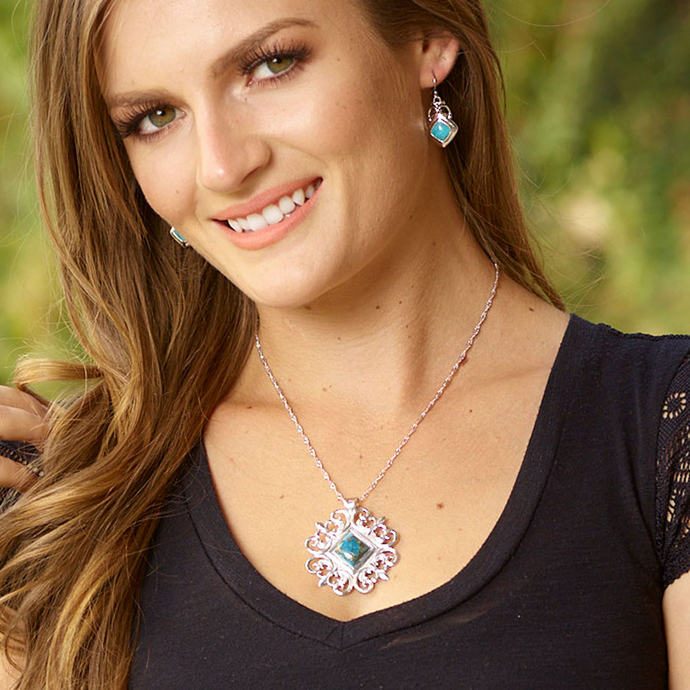 Turquoise Key Earrings