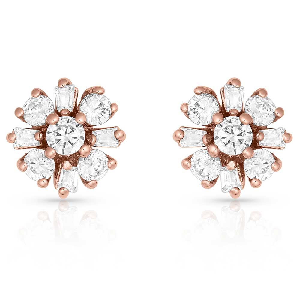 Simply Brilliant Rose Flower Earrings