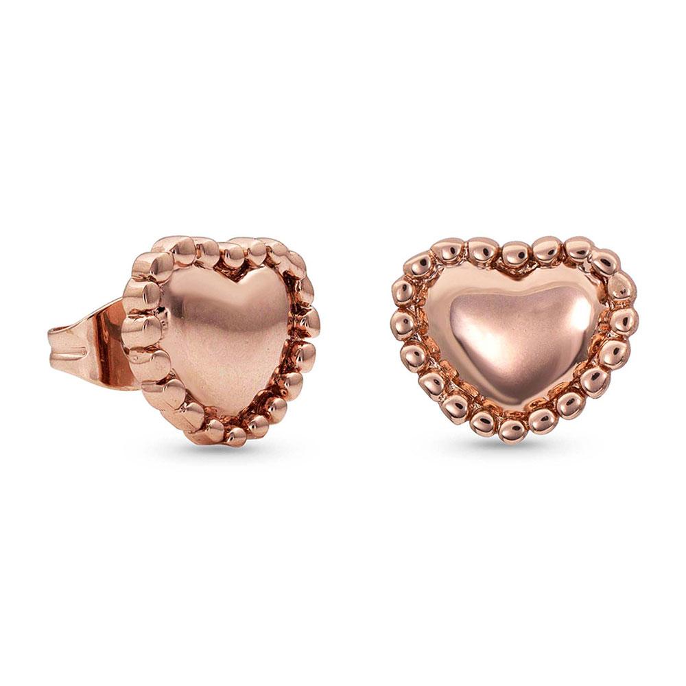 Beaded Rose Puffy Heart Stud Earrings