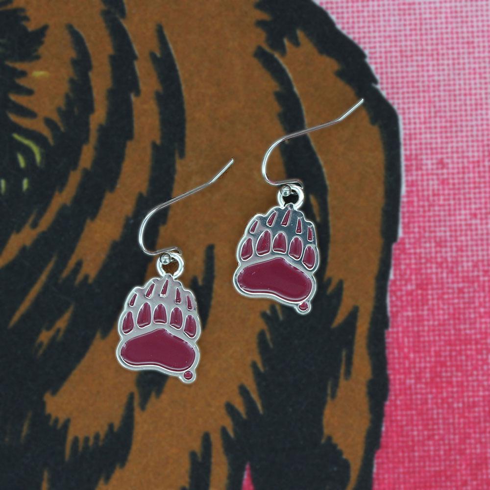 University of Montana Griz Paw Print Charm Earrings