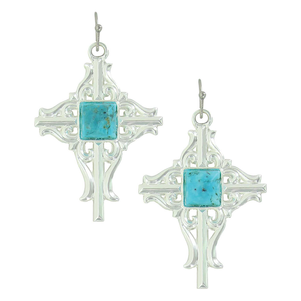 Gates of the Mountains Turquoise Cross Earrings