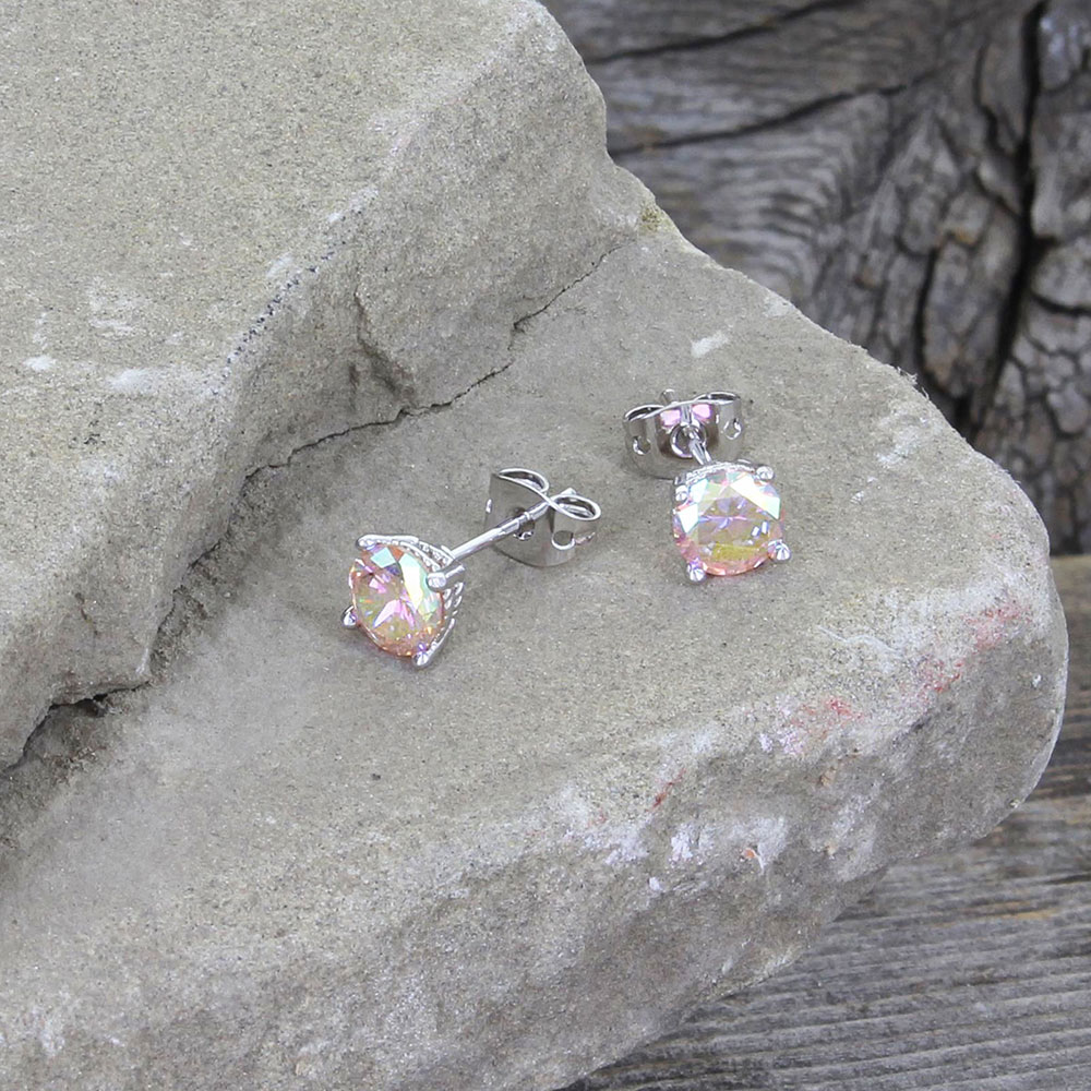 Iridescent Pink Champagne Post Earrings