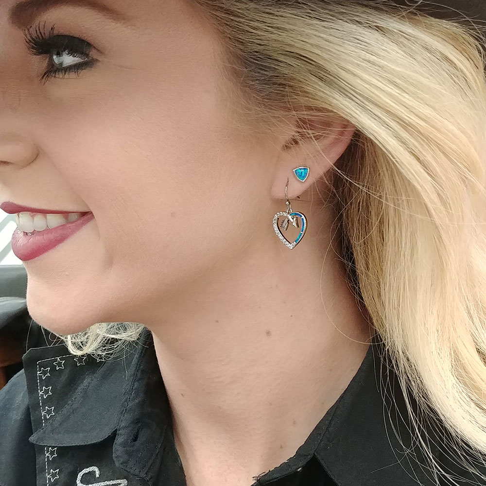Follow Your Arrow Opal Heart Earrings