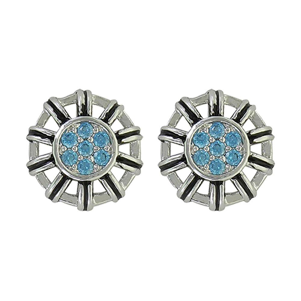 Buckstitch Flower Button Post Earrings