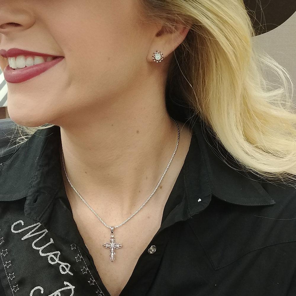 Rose Gold Buck Stitch Pinwheel Post Earrings