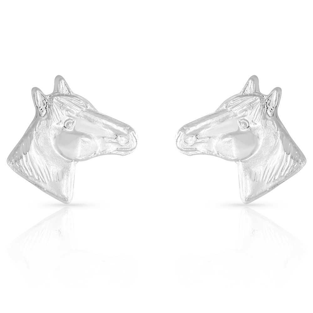 Little Silver Horse Head Earrings