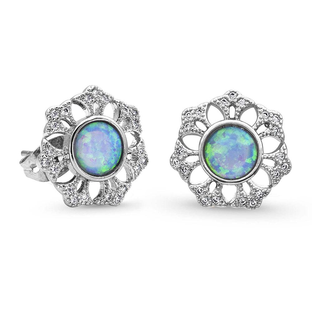River of Lights Snowflake Opal Earrings