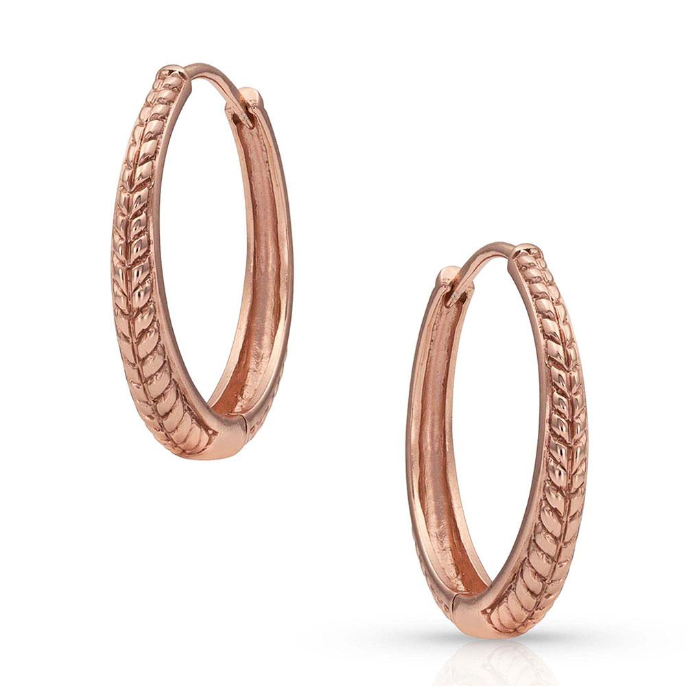 Rose Gold Classic Rope Hoop Earrings