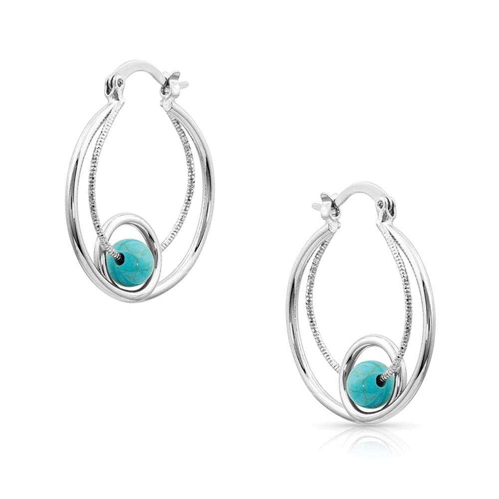 Tangled Turquoise Hoop Earrings