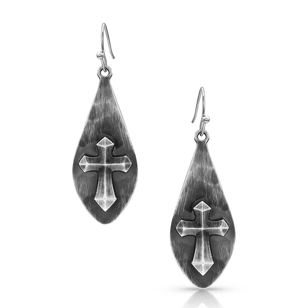 River Rock Faith Cross Earrings