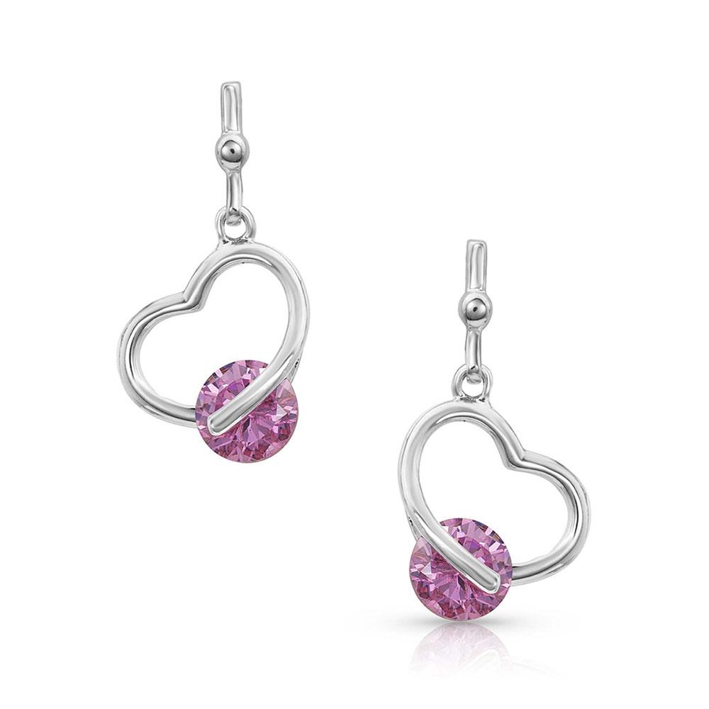A Drop of Pink Heart Earrings