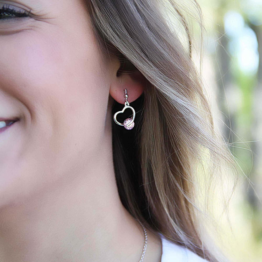 A Drop of Pink Heart Earrings