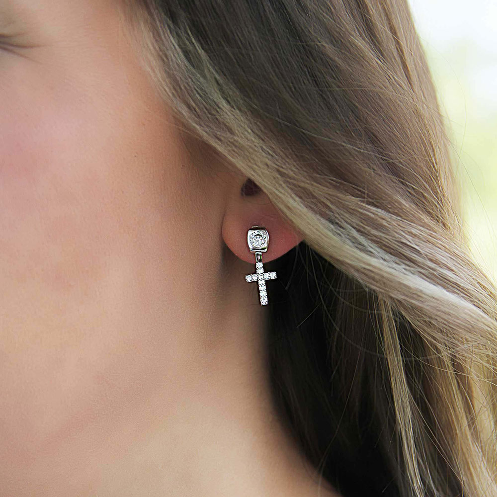 Star Lights Faith Cross Earrings