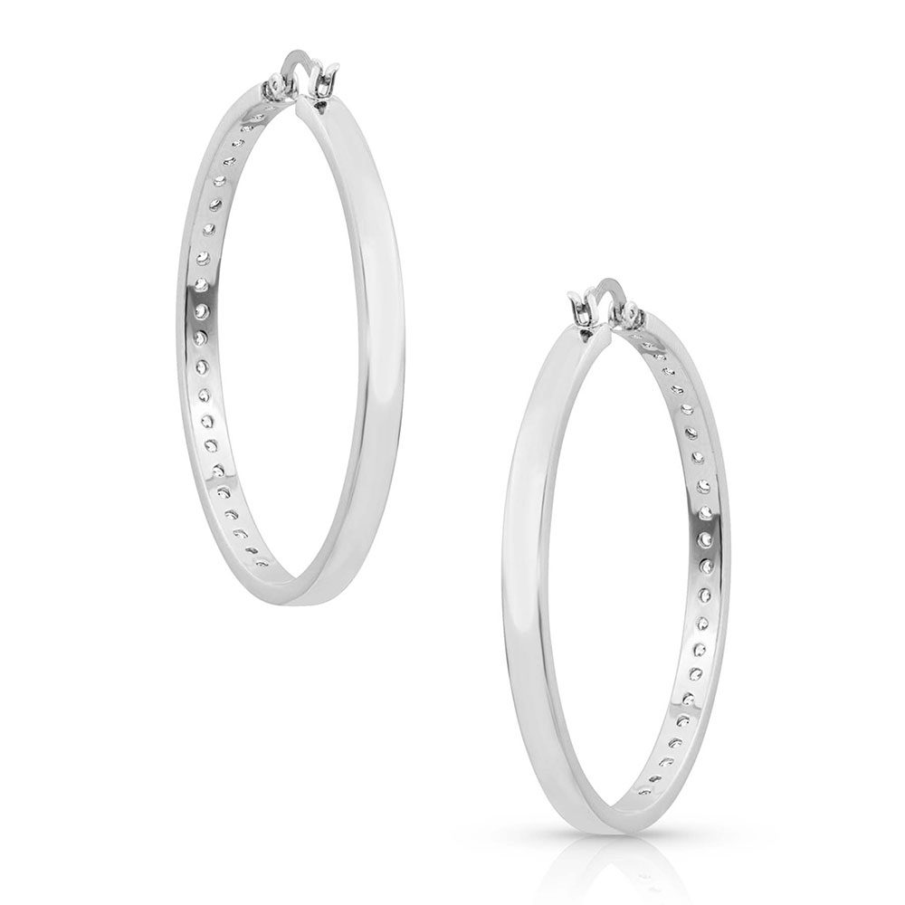 Star Light Lined Hoop Earrings