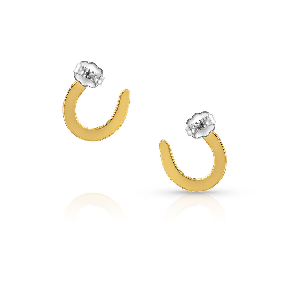 Lucky You Gold Horseshoe Earrings