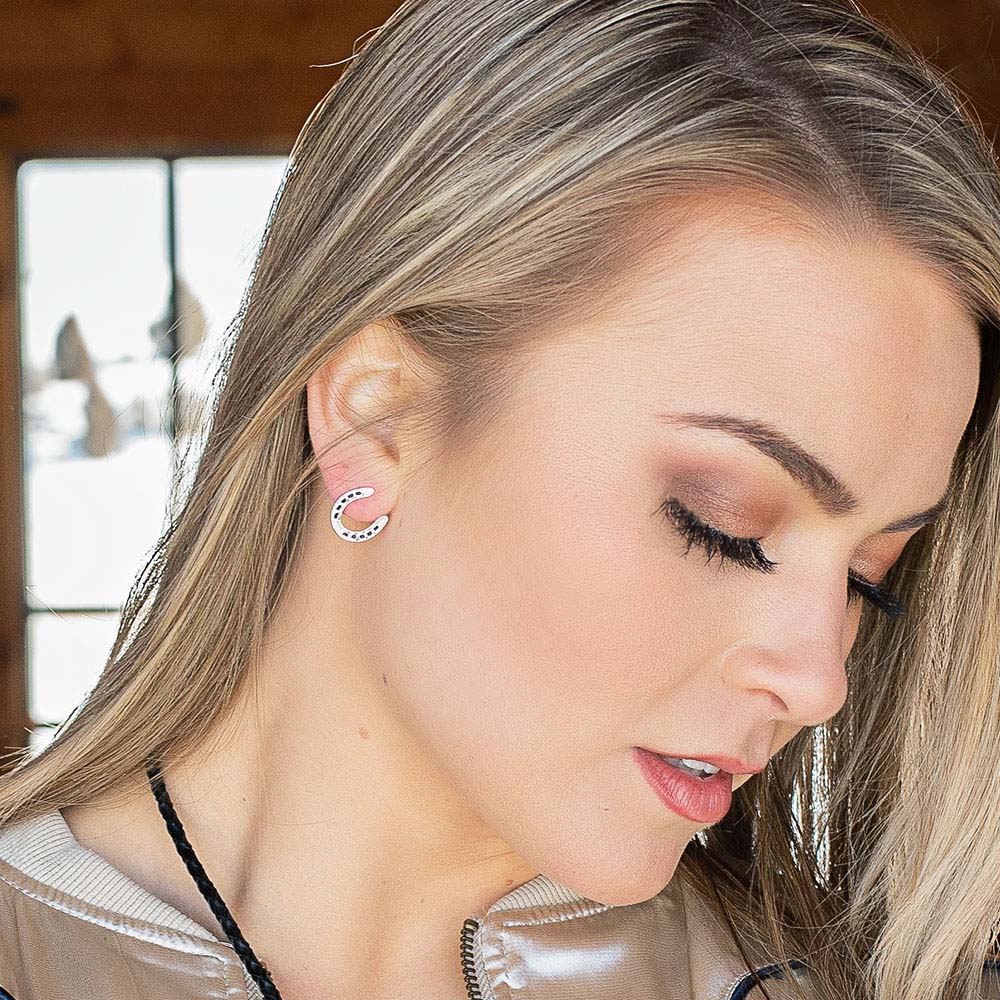 Lucky Silver Horseshoe Earrings