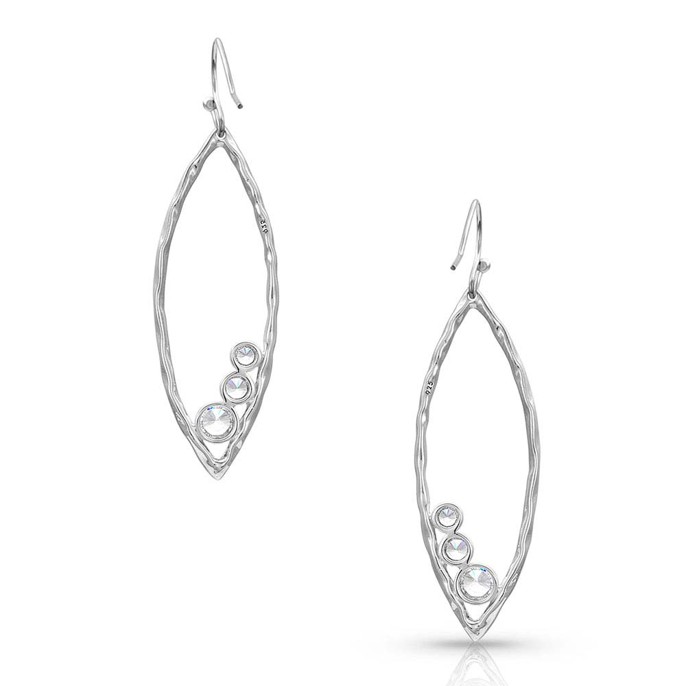 Hammered Line Crystal Trio Earrings