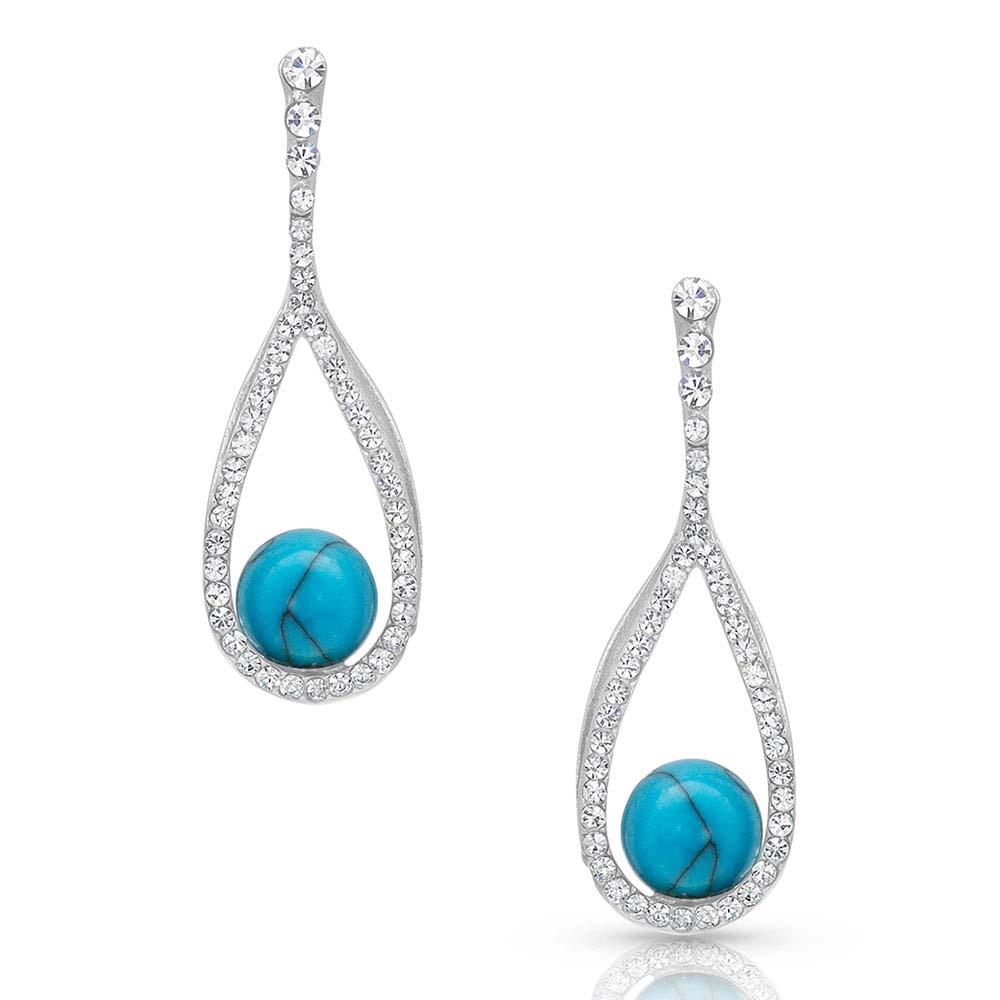 Open Teardrop Wrapped Turquoise Earrings