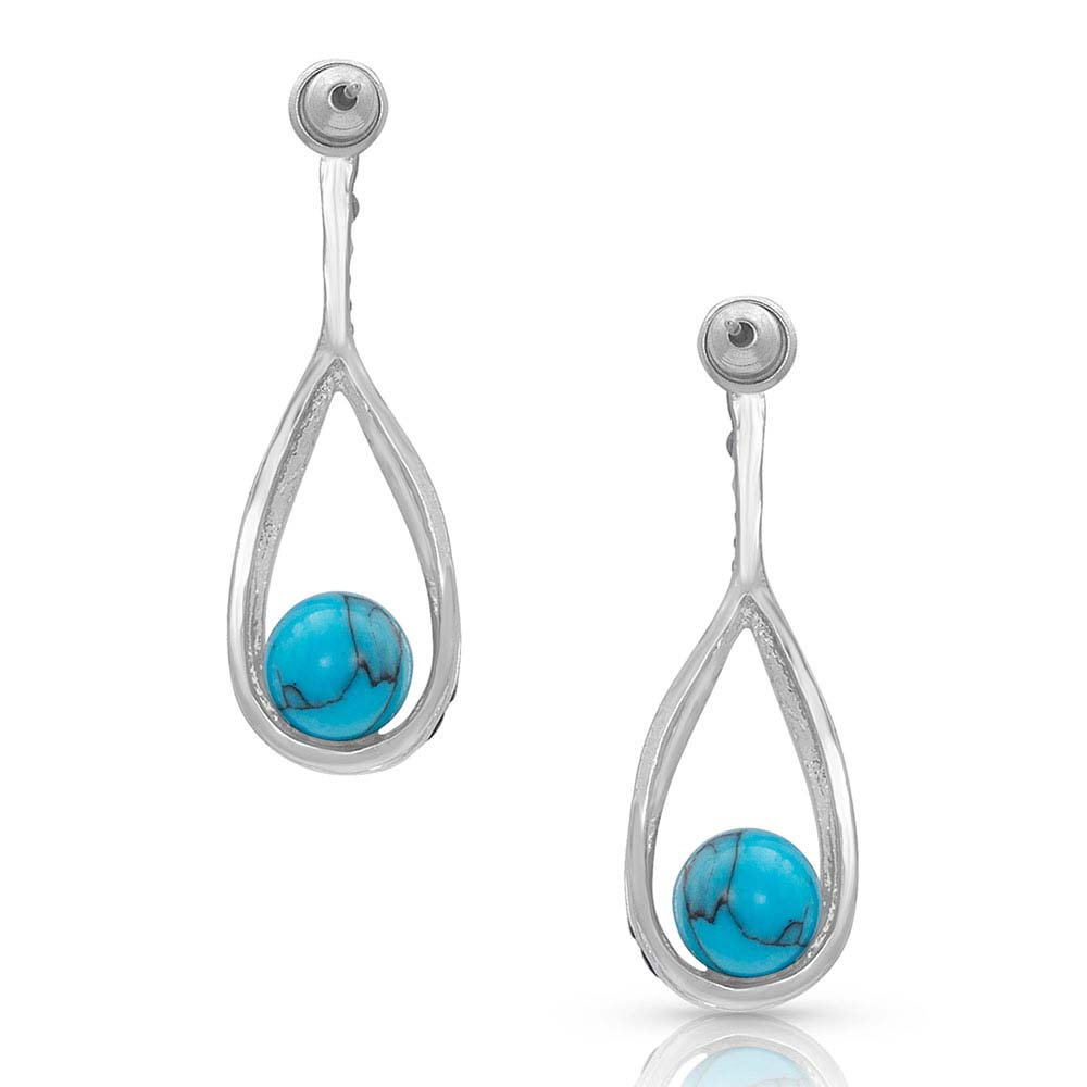 Open Teardrop Wrapped Turquoise Earrings