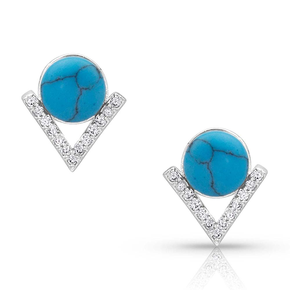 Geometric Turquoise Pearl Post Earrings