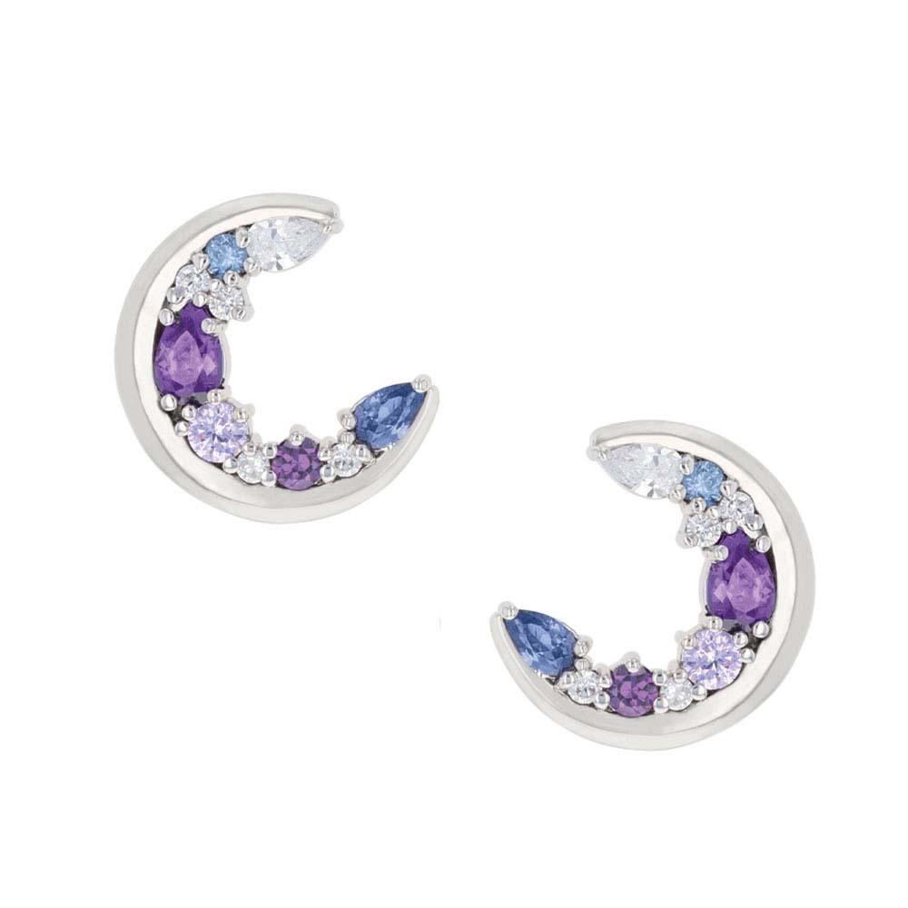 Purple Haze Cluster Moon Earrings