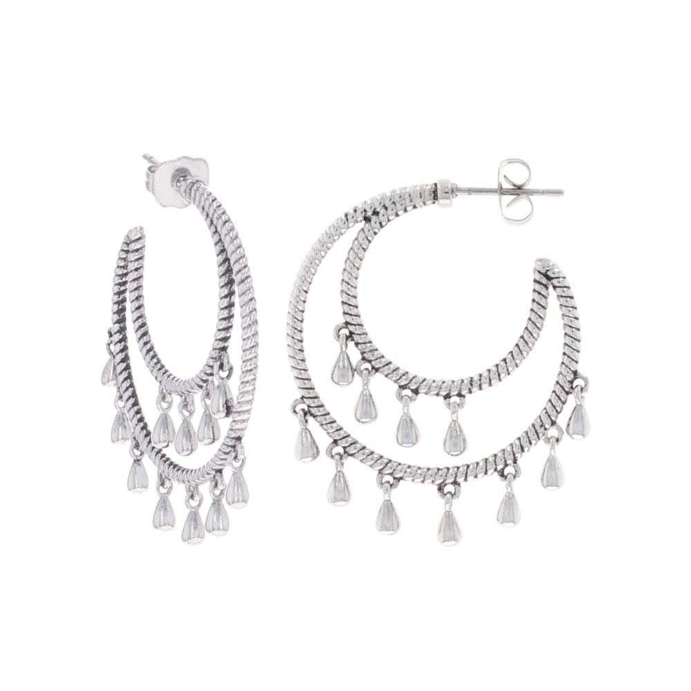 Tambourine Ropes Crescent Earrings
