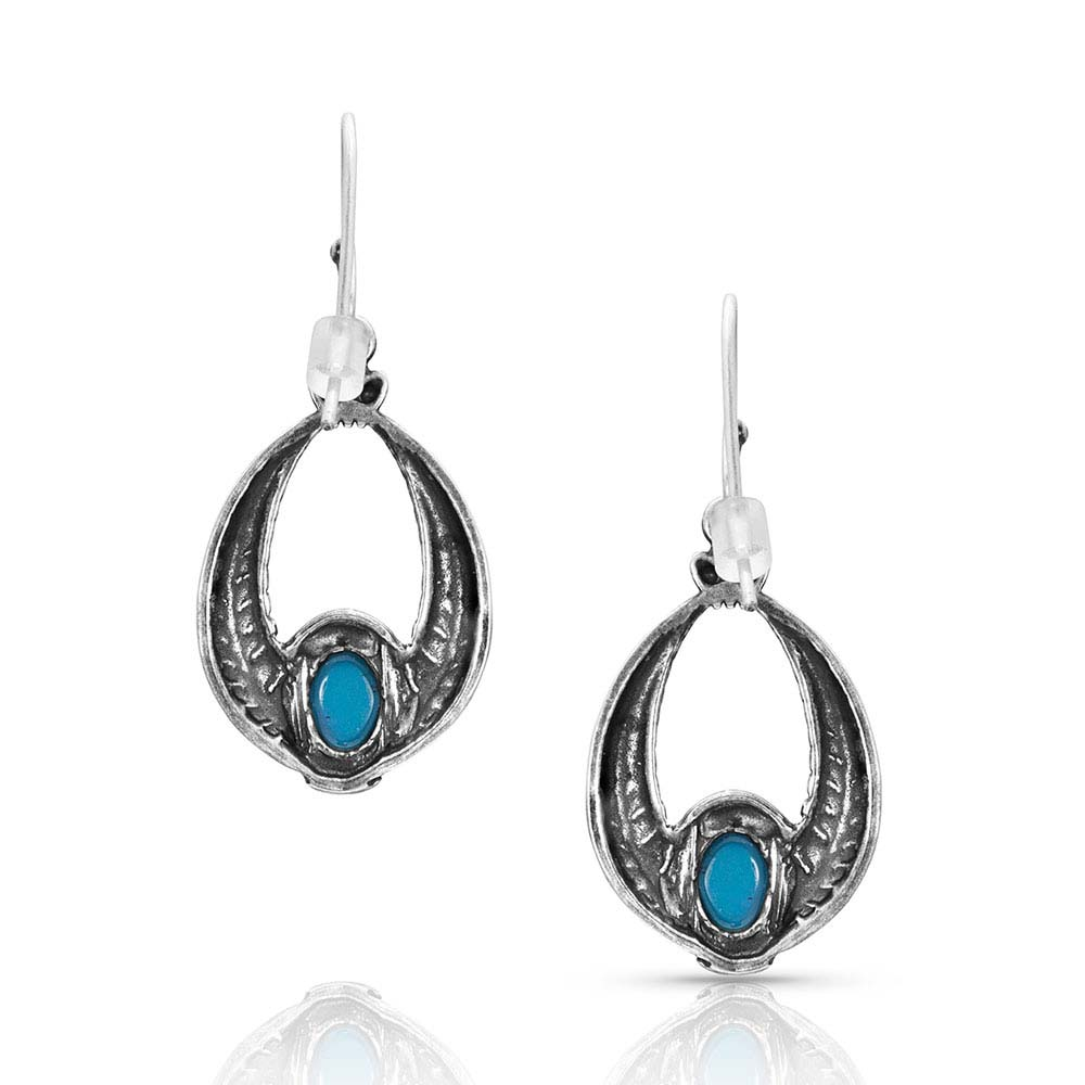 Regal Winds Oval Turquoise Earrings