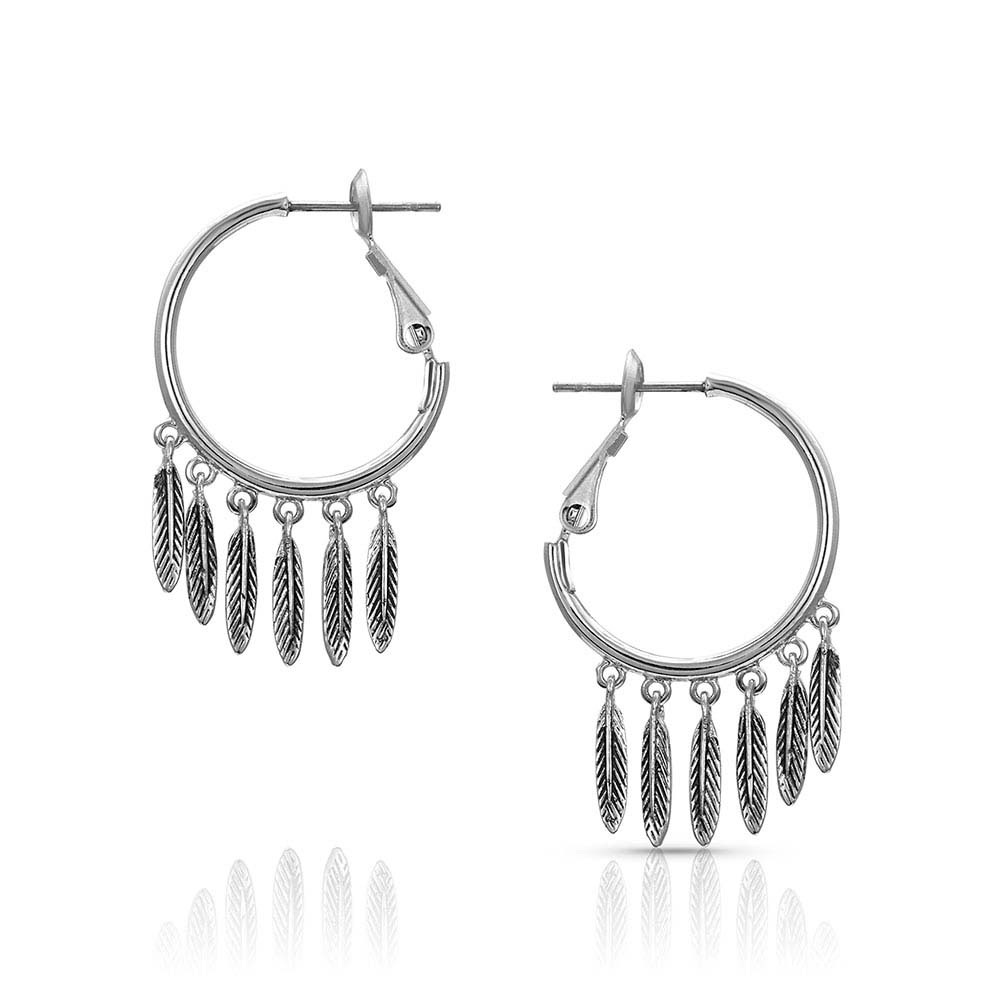 Five Feathers Hoop Earrings
