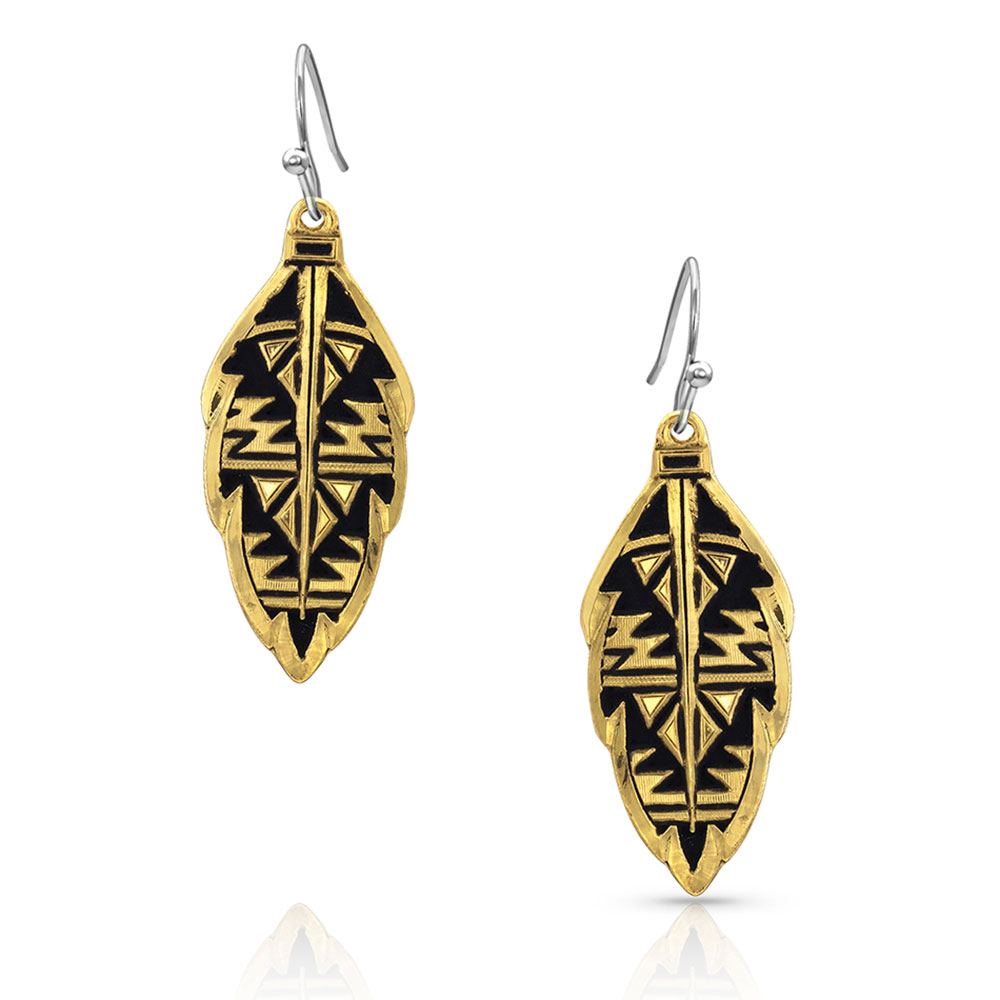 Sedona Gold Ranch Feather Earrings