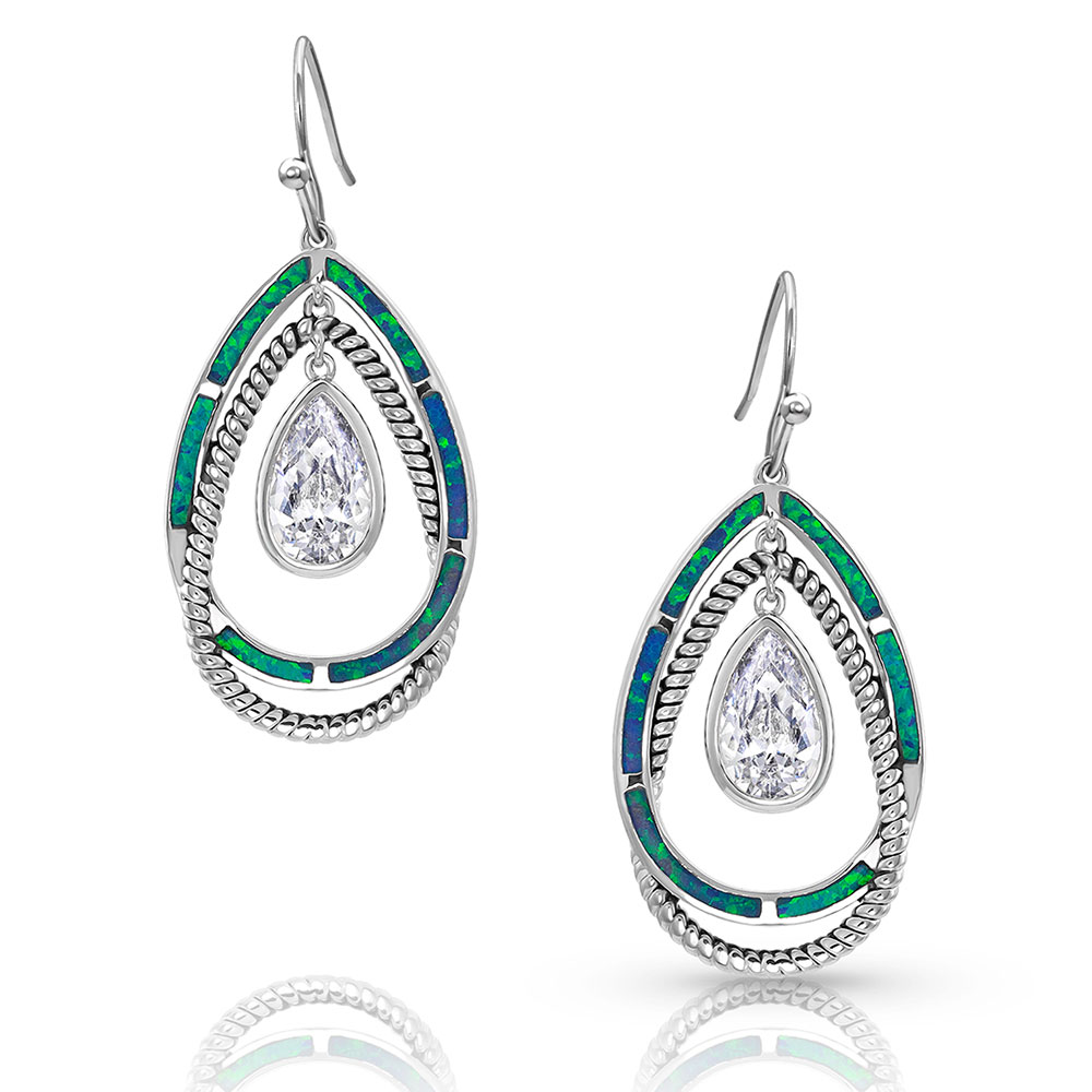 Opal Ribbons Teardrop Earrings