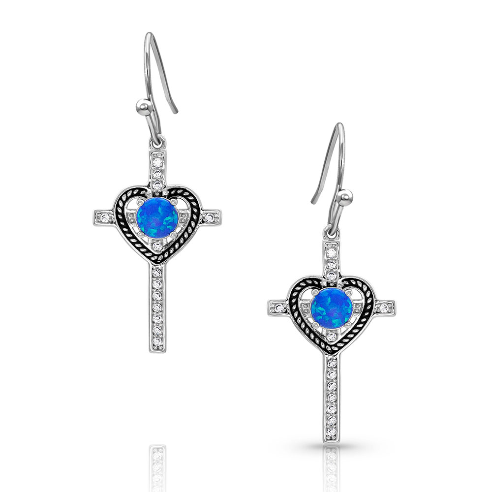 Heart of Faith Opal Cross Earrings