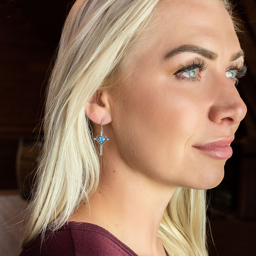 Heart of Faith Opal Cross Earrings