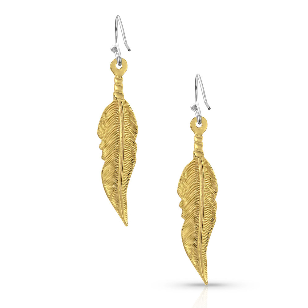 Antiqued Golden Dawn Feather Earrings