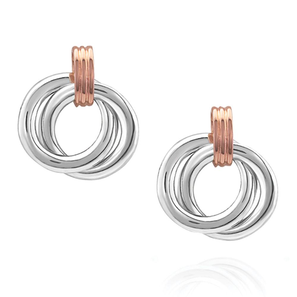 Two Tone Double Ring Earrings