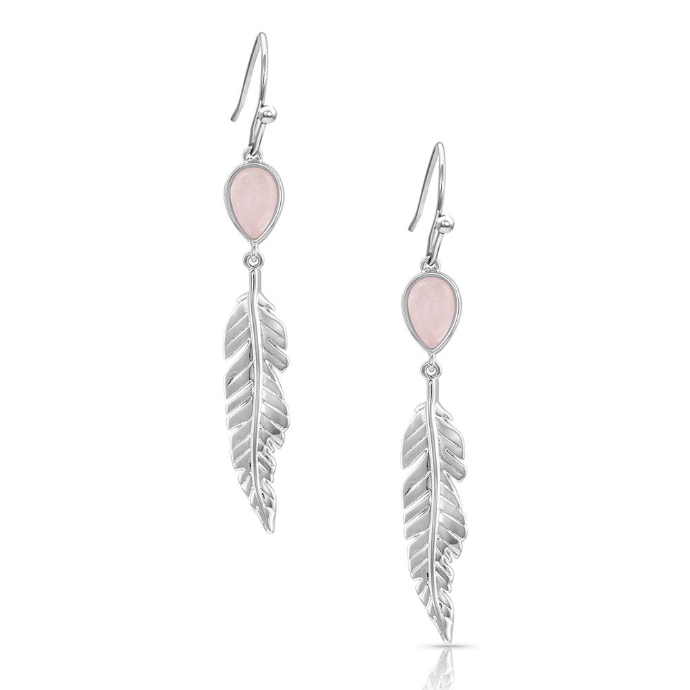 Dreamy Rose Feather Earrings