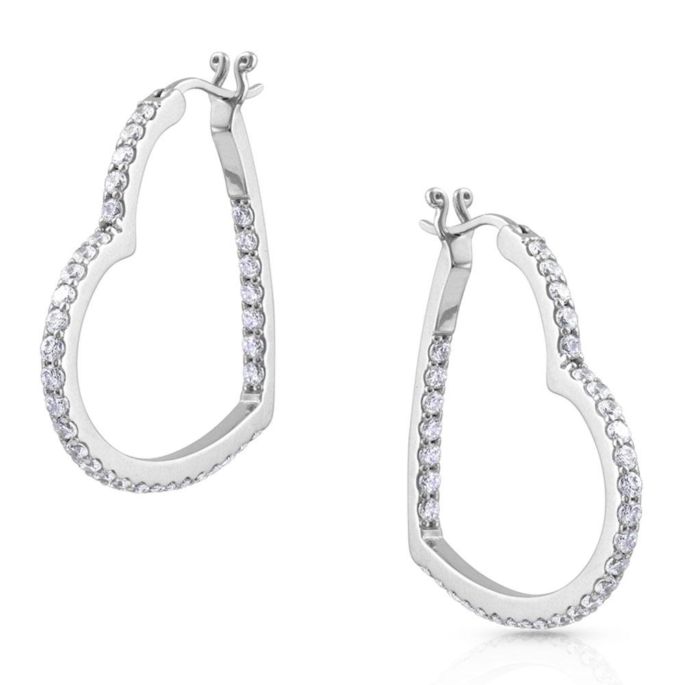 Glittering Heart Hoop Earrings