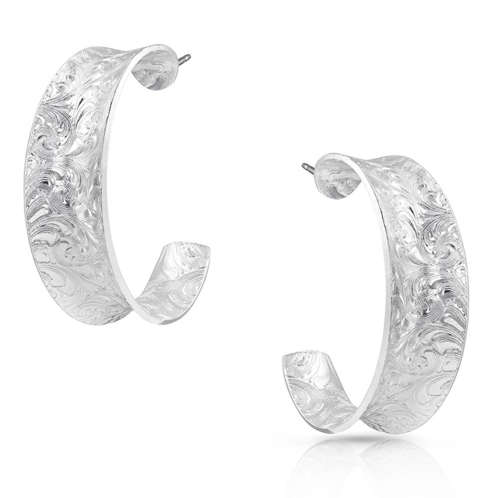 Glacier Saddle Bend Engraved Hoop Earrings