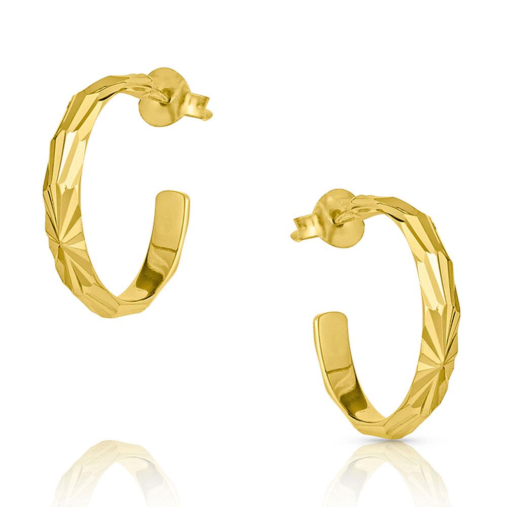 Cut Golden Starburst Hoop Earrings