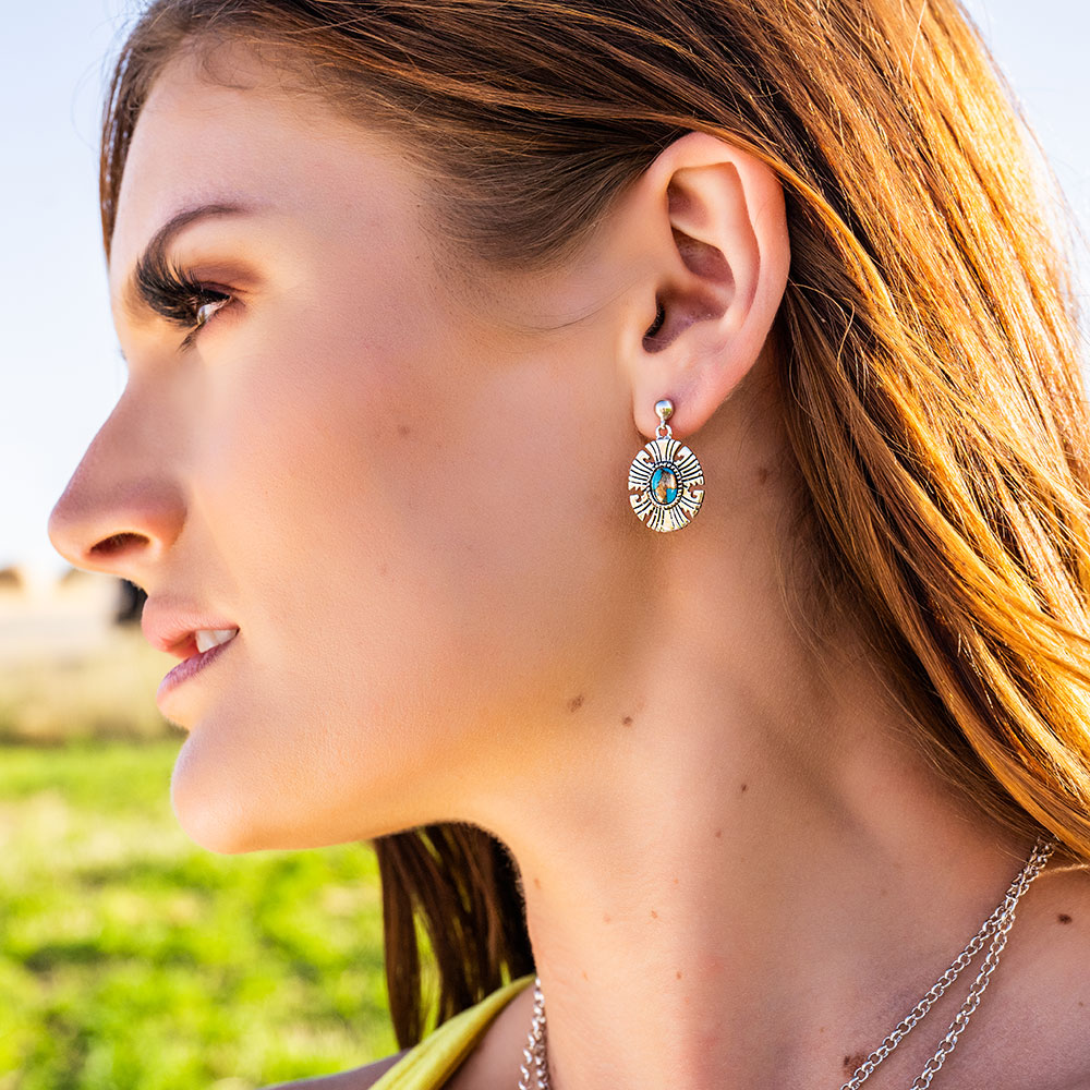 Antiqued Front-Back Turquoise Earrings