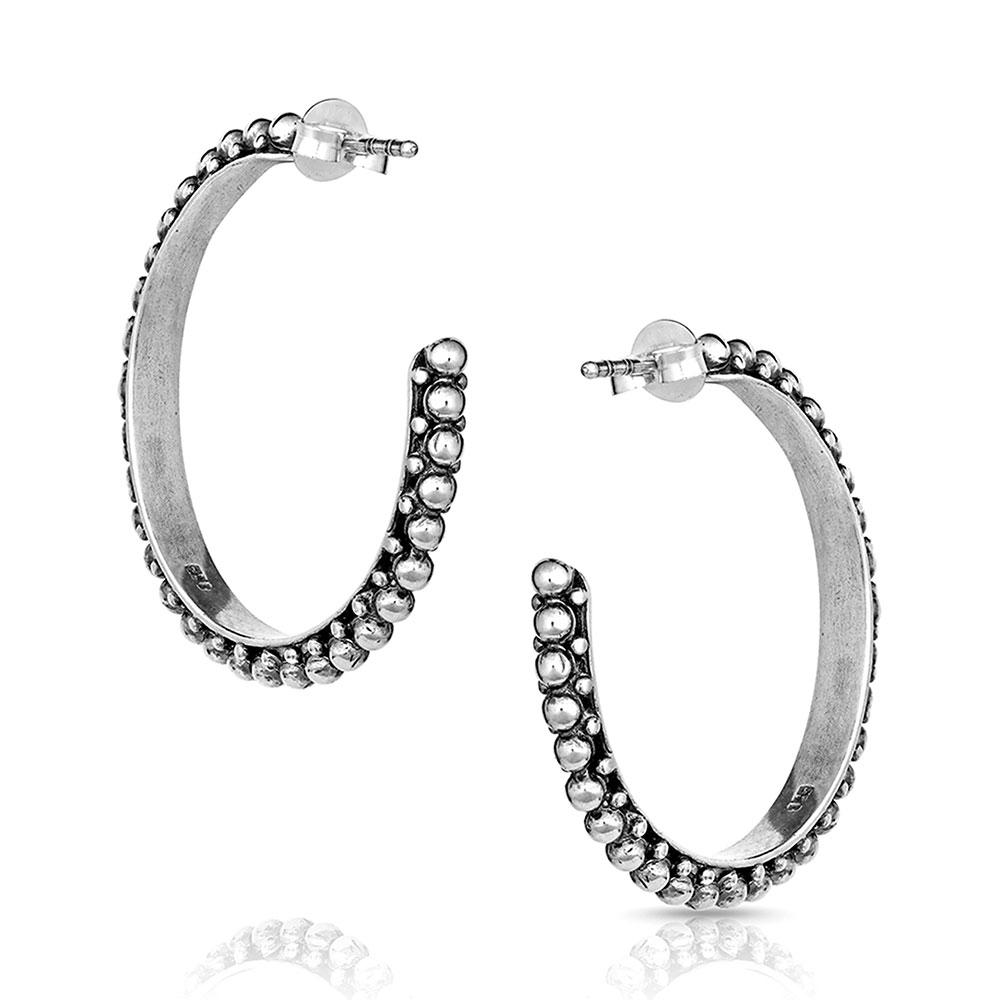 Antiqued Bead Hoop Earrings
