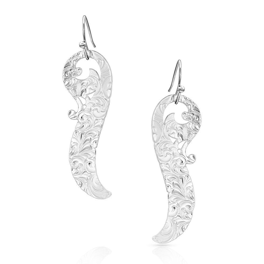 Connected Feathered Filigree Earrings