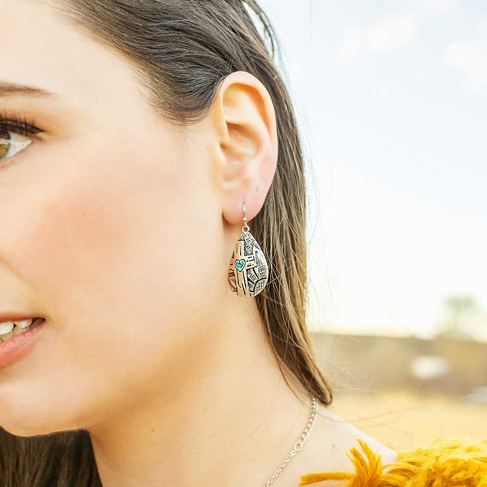 Blooming Cross Opal Teardrop Earrings